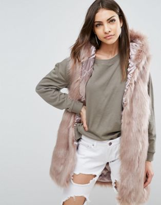 Parka London Phoeve Hooded Faux Fur Gilet