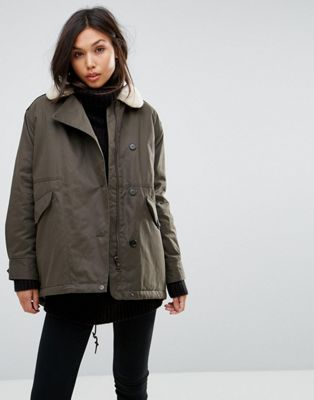 Parka London Swing Coat With Shearling Collar