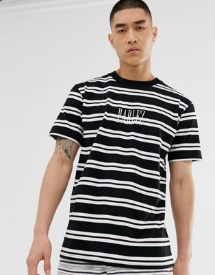 Parlez Editions stripe t-shirt with embroidered logo in black