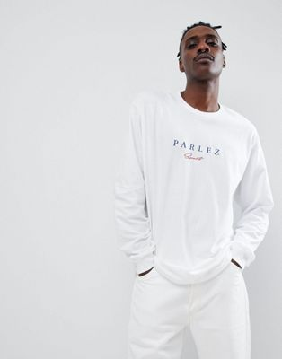 Image 1 of Parlez long sleeve t-shirt with embroidered sport script chest logo in white