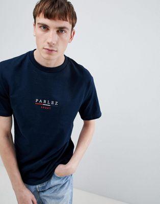 Parlez – T-Shirt mit Logostickerei in Marine