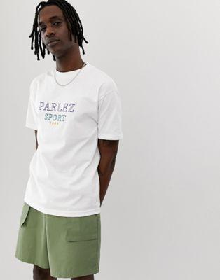 Bild 1 av Parlez – Trace – Vit t-shirt med broderad logga på bröstet
