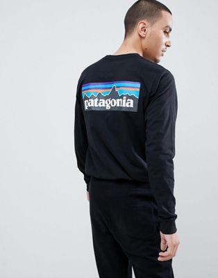 Patagonia - P-6 Responsibili-Tee - Top nero a maniche lunghe con logo