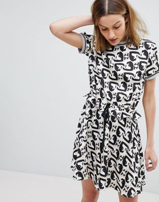 Paul & Joe Sister Cat Print Mini Dress
