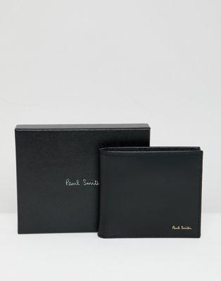 Bild 1 von Paul Smith – Schwarze Lederbrieftasche mit Futter mit klassischem Streifenmuster
