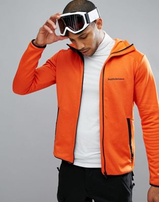 Peak Performance Fleece Half Zip Fleck Sweat In Orange