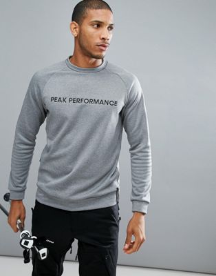 Peak Performance Goldeck Crew Neck Logo Sweat In Grey