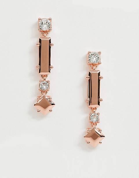 Pendientes largos de tendencia con cristal en dorado rosa de Ted Baker