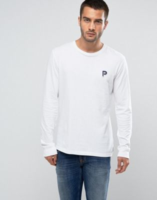 Penfield Copley Long Sleeve Top P Logo Regular Fit in White