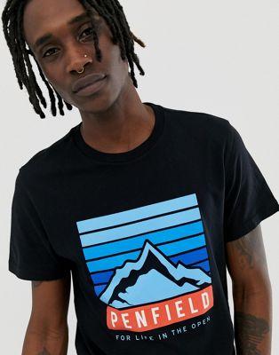 Penfield – Schwarzes T-Shirt mit Berg-Logoaufdruck an der Brust und Rundhalsausschnitt