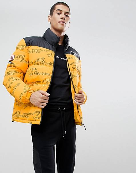 Penn Sport puffer jacket in yellow with all over logo print