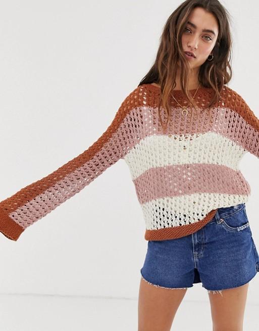 People Tree - Pull rayé tricoté main