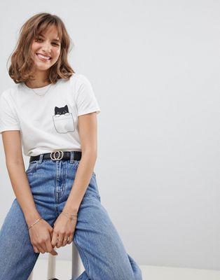 People Tree – T-shirt med kattryck i ekologisk bomull