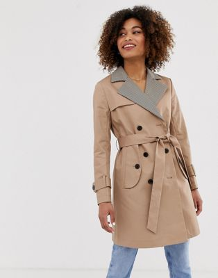 Pepe Jeans Daria trench coat with check lapels