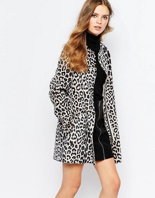 Image 1 of Pepe Jeans Leopard Print Pony Faux Fur Coat