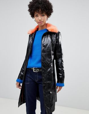 Image 1 of Pepe Jeans patent belted jacket with faux fur collar