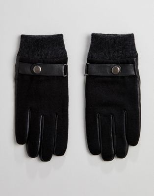 Image 1 of Peter Werth Shearling Leather Gloves In Black