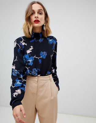 Pieces - Blusa accollata a fiori