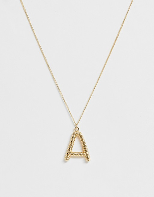 Image 1 of Pieces chunky gold 'A' initial necklace