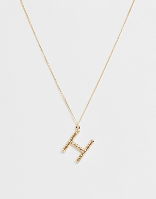 Pieces chunky gold 'H' initial necklace