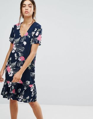 Pieces Enna Ditsy Floral Print Drop Waist Dress