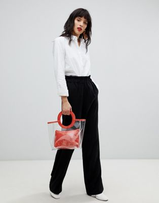 Image 1 of Pieces High Paper Bag Waist Pant