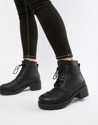Image 1 of Pieces Lace Up Tracked Sole Ankle Boot