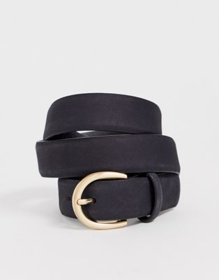 Pieces leather rounded buckle belt
