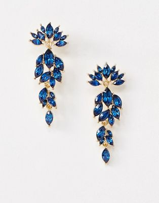 Image 1 of Pieces Marlo statement rhinestone earrings
