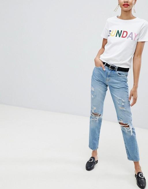 Jeans hellblauerdenim im Look Used Pieces Mom Oq0gwv