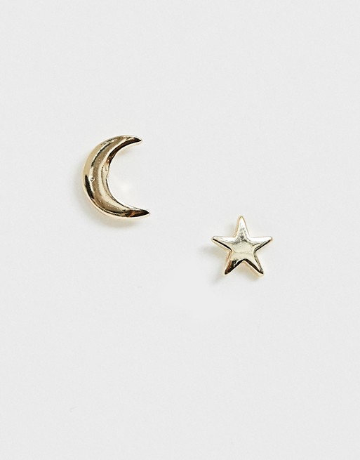 Image 1 of Pieces moon and star stud earrings