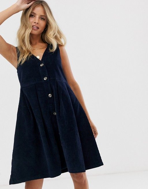 Pieces v neck button front cord pinny dress