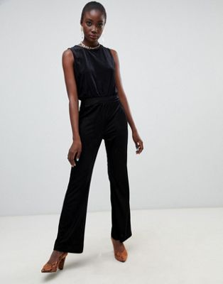 Image 1 of Pieces Velvet Ribbed Wide Leg Jumpsuit
