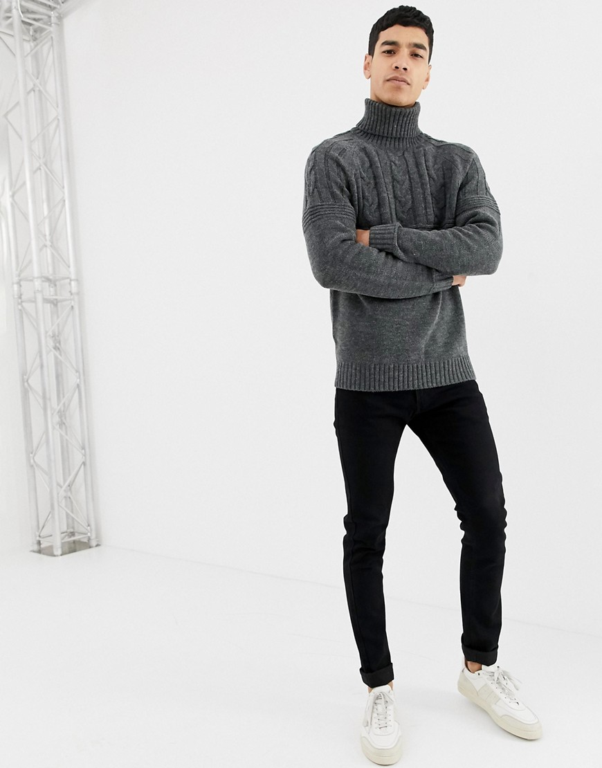 Pier One Cable Knit Jumper In Dark Grey With Roll Neck by Pier One