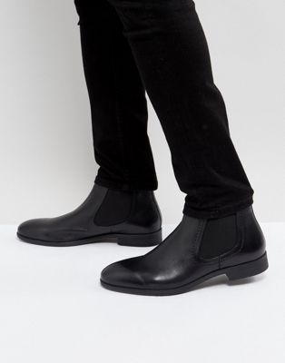 Pier One Leather Chelsea Boots In Black