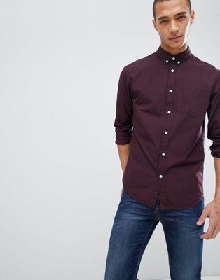 Pier One - Overhemd met gingham-ruit in bordeauxrood