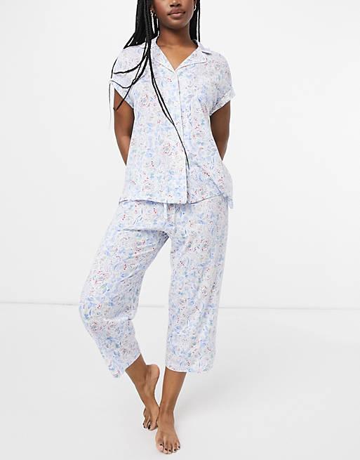 Pijama Con Estampado Floral De Pantalones Capri Y Camisa Con Cuello Tipo Polo Y Muesca De Lauren By Ralph Lauren Asos