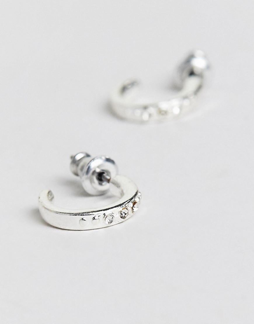 Pilgrim Silver Plated Stud Earrings With Diamante by Pilgrim