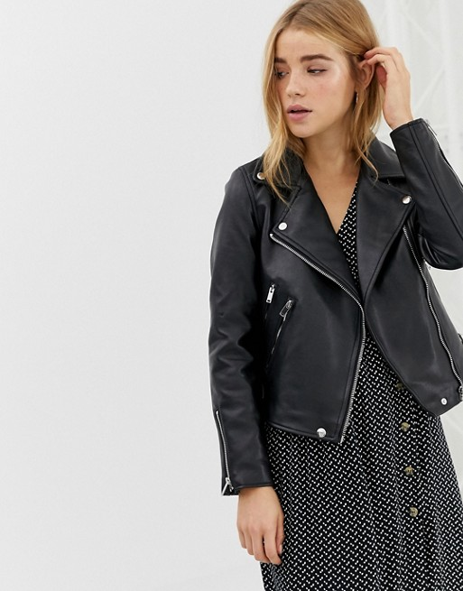 Image 1 of Pimkie faux leather biker jacket in black