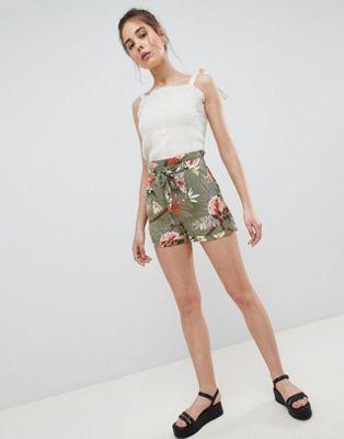 Pimkie PRinted Tie Waist Shorts in Khaki