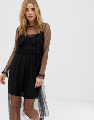 Pimkie Ruffle Detail Lace Overlay Shift Dress