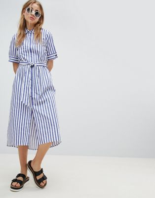 Pimkie Stripe Tie Front Shirt Dress