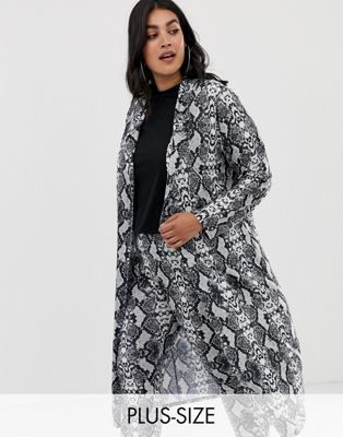 Pink Clove duster jacket in snake print two-piece