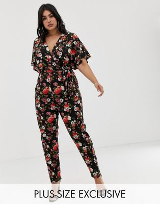 Pink Clove wrap jumpsuit in rose print