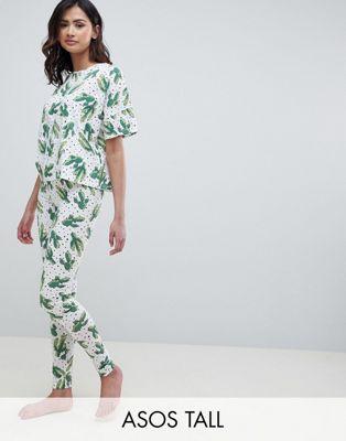 Изображение 1 из Пижамный комплект из леггинсов и футболки с принтом ASOS DESIGN Tall