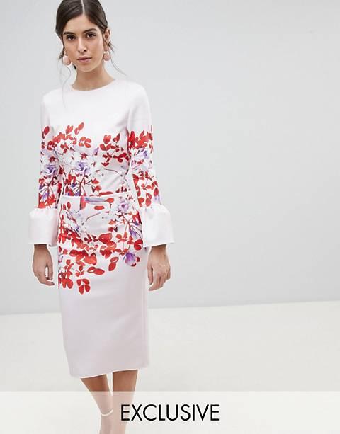 Платье-футляр с оборками на рукавах и принтом True Violet