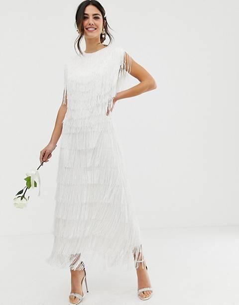Платье макси с бахромой ASOS EDITION