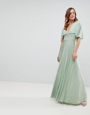 Платье макси с кружевной вставкой и плиссировкой ASOS