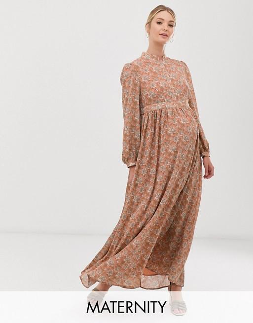 Изображение 1 из Платье макси с высоким воротом и цветочным принтом Glamorous Bloom