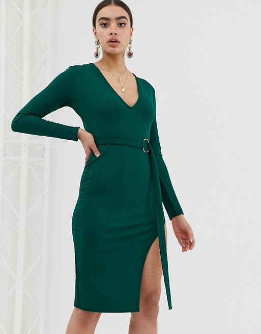 Изображение 1 из Платье миди с глубоким вырезом In The Style